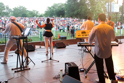 "Somethin' Fresh entertained a packed lawn during Nassau County's ""Celebrate America Concert and Fireworks"" with disco and dance favorites."