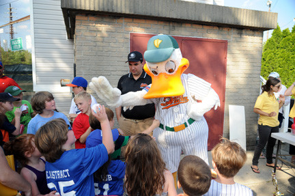 Ducks mascot Quacker Jack visited the kids after the game.