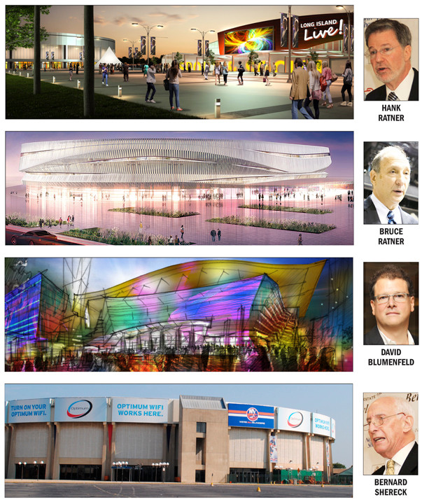 The four proposals for a redesigned Nassau Coliseum.