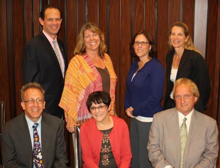 The 2013-2014 Lynbrook Board of Education. Seated were Vice President Robert Paskoff, left, President Alicemarie Bresnihan and Secretary Sean Strife. Standing were trustees William Belmont, Heather Hanson, Ellen Marcus and Catherine Papandrew.