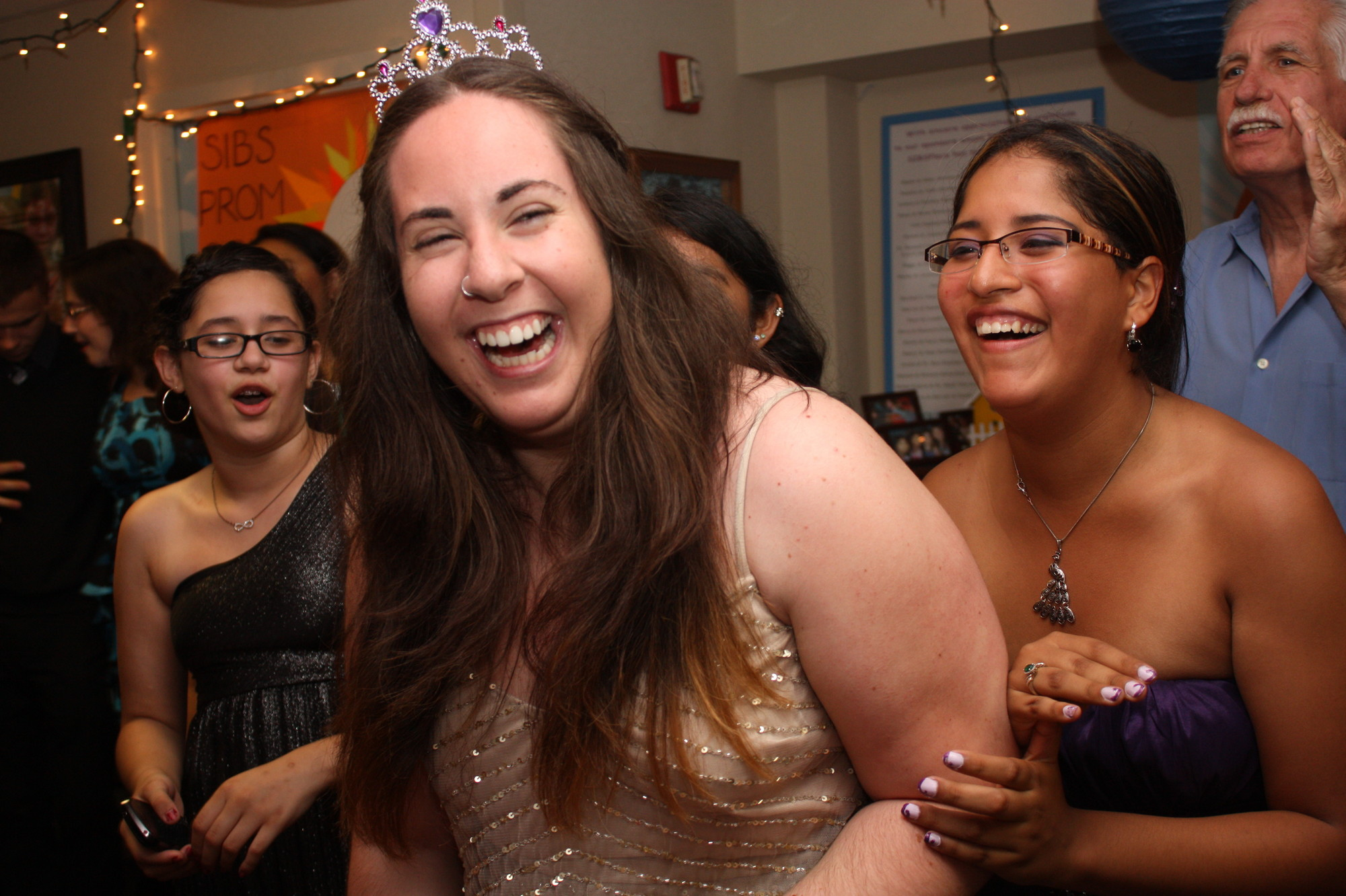 High school graduate and SIBSPlace participant Gabrielle Cohen sashayed through the prom party along with Melissa Joliz, at right.