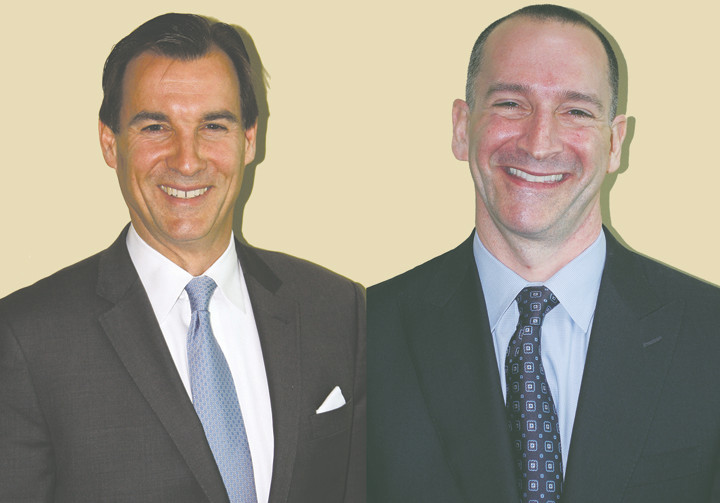 Tom Suozzi, left, and Adam Haber, right, will be facing off in a Democratic primary on Sept. 10 for Nassau County executive.
