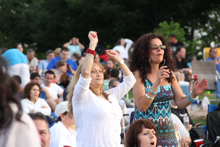 Stacy Carner and Claudia Marra showed their moves on the lawn of Eisehower Park.