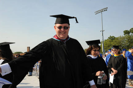 Oceanside High School Principal Mark Secaur, pictured here at last month's graduation exercises, will be leaving Aug. 1 to become an assistant superintendent in Hewlett-Woodmere.