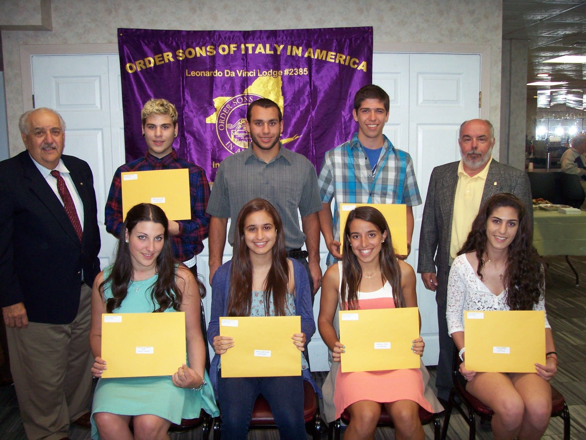 Leonardo da Vinci Lodge 2385 of Inwood gave out 10 student scholarships. Standing from left, Lodge Scholarship Chairman Peter Capozzi, Luigi Ciavolino, Florian Capobianco and Joseph Farese, and Lodge President Joseph Squitieri. Seated from left, Chelsea Campanile, Nicole Fudrini, Valerie DeNapoli and Camile Picini. Jennifer Holtzer, James G. Harrison and Alexis Scarandino also received scholarships.