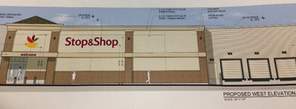 An architect's rendering of the proposed Stop & Shop, which would be expanded and upgraded.