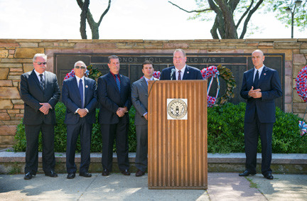 John Miller, CEO of Red Cross Long Island, was joined by city officials at a press conference on Monday, where he encouraged residents to attend a series of hurricane-preparedness training sessions this summer.