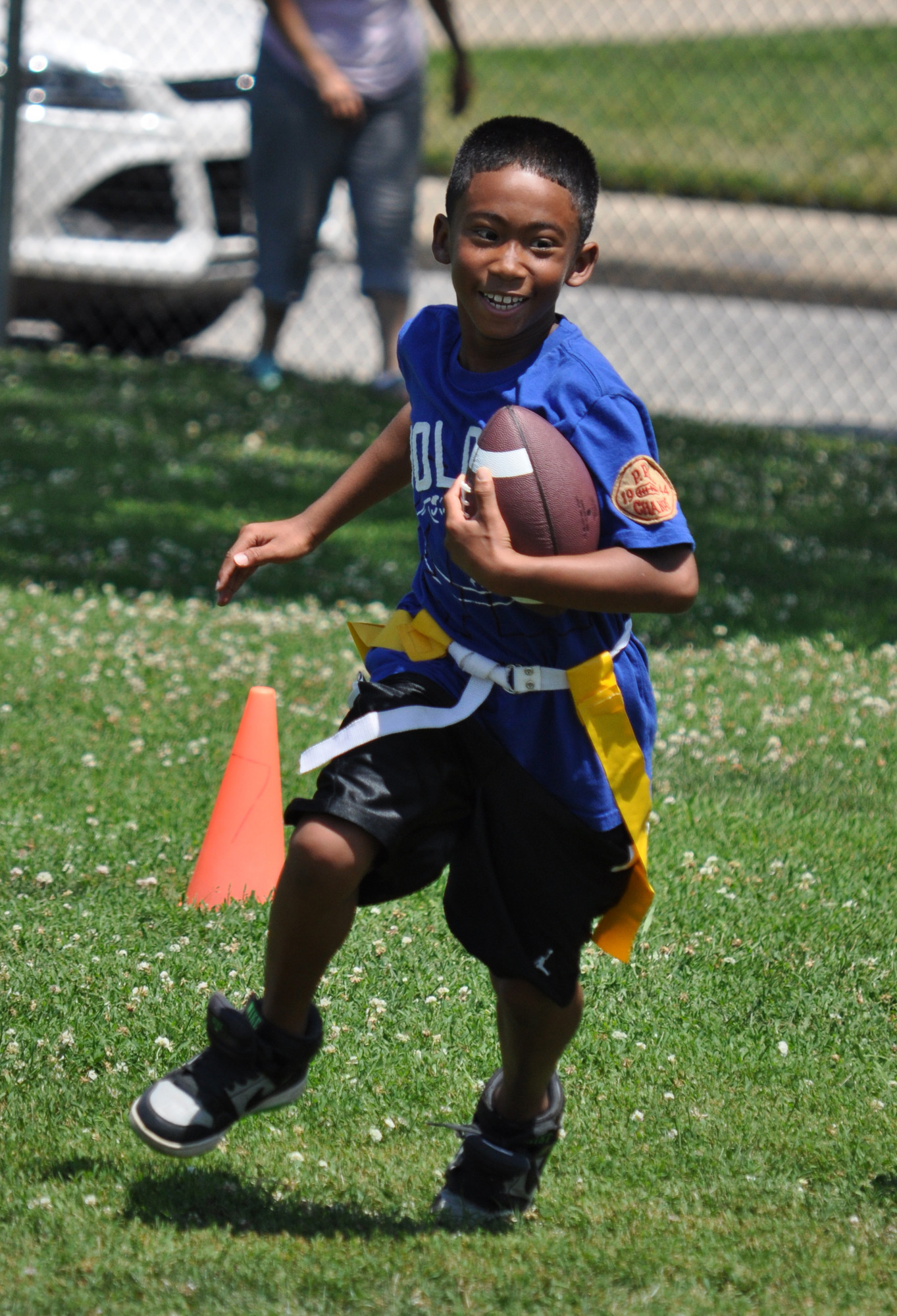 Justin Downer, 9, of Valley Stream participated in the flag football camp.
