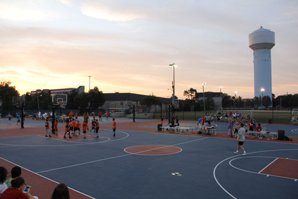 The Mill River Basketball courts were recently repaired using grant money.