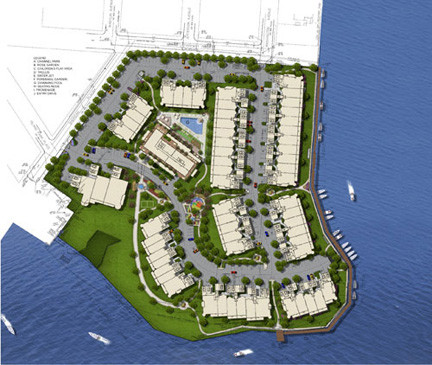 An artist's rendition of the housing development planned for Harbor Isle in Island Park.
