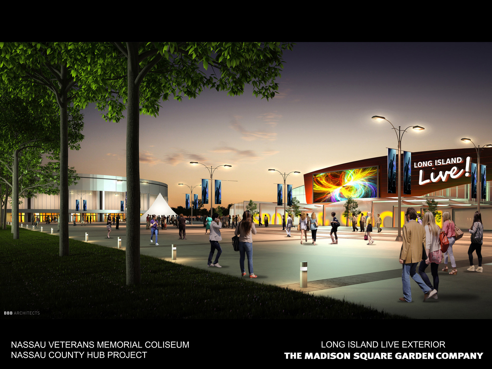 "Madison Square Garden's rendering of a redeveloped Nassau Coliseum site, including an entertainment district called ""Long Island Live!"""