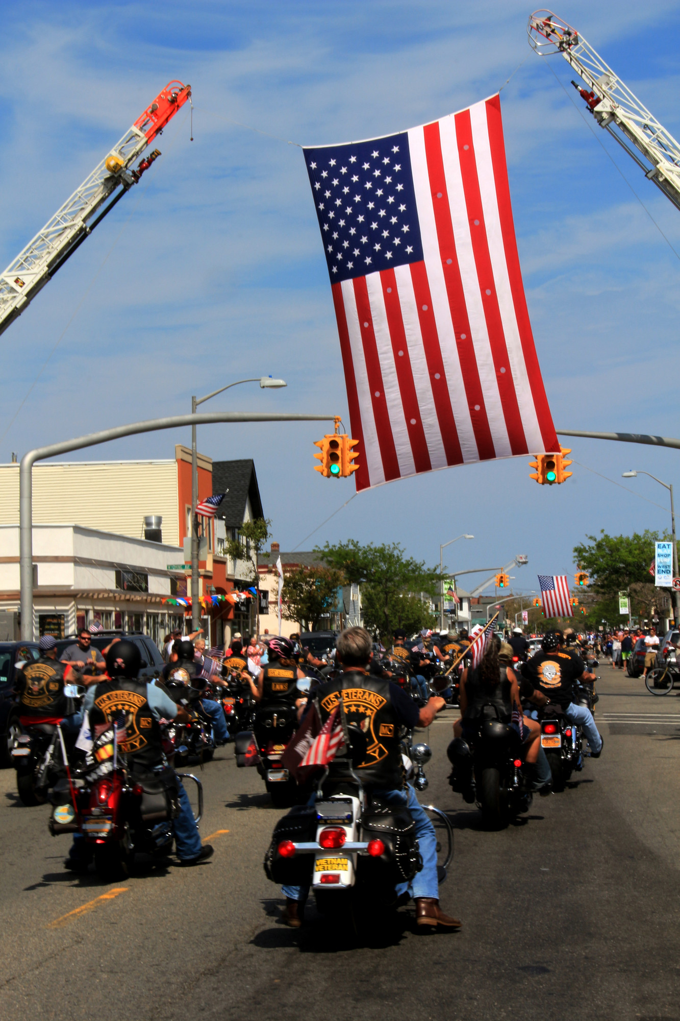 The U.S. Veterans Motorcycle Club in the parade down West Beech Street.