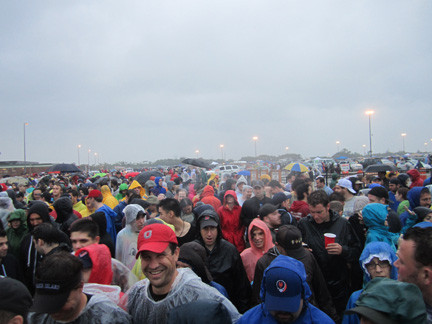 Dressed in raingear, Phish 'phans' waited on July 12 to be let inside the Nikon at Jones Beach Theater for the evening's concert.