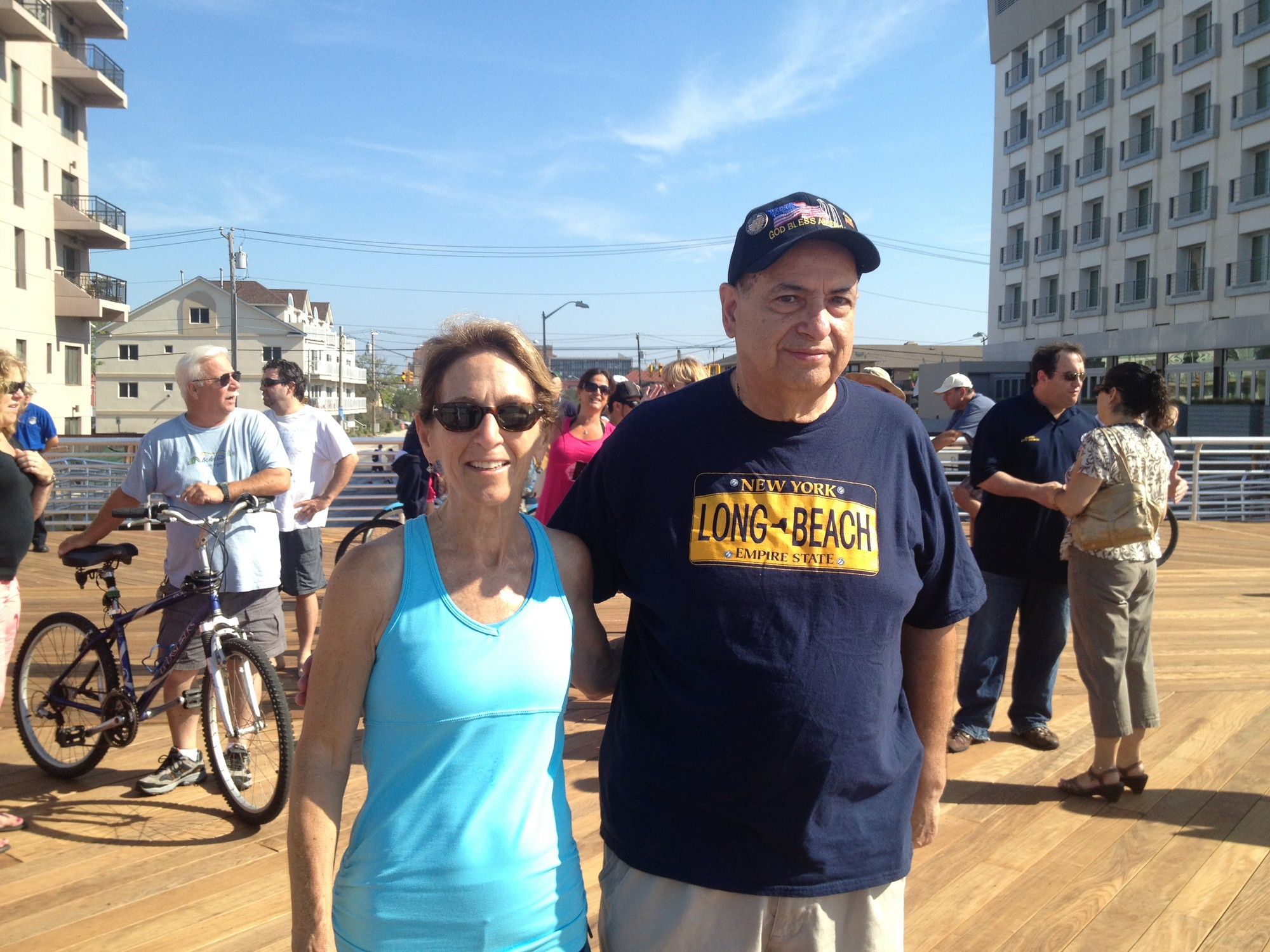 Council Vice President Fran Adelson took a break from her run on the boardwalk to chat with resident Joe Ponte.