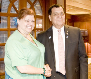 Regina Mascia is pictured above with Mario Moran a past Rotary District Governor, who was the installing officer.