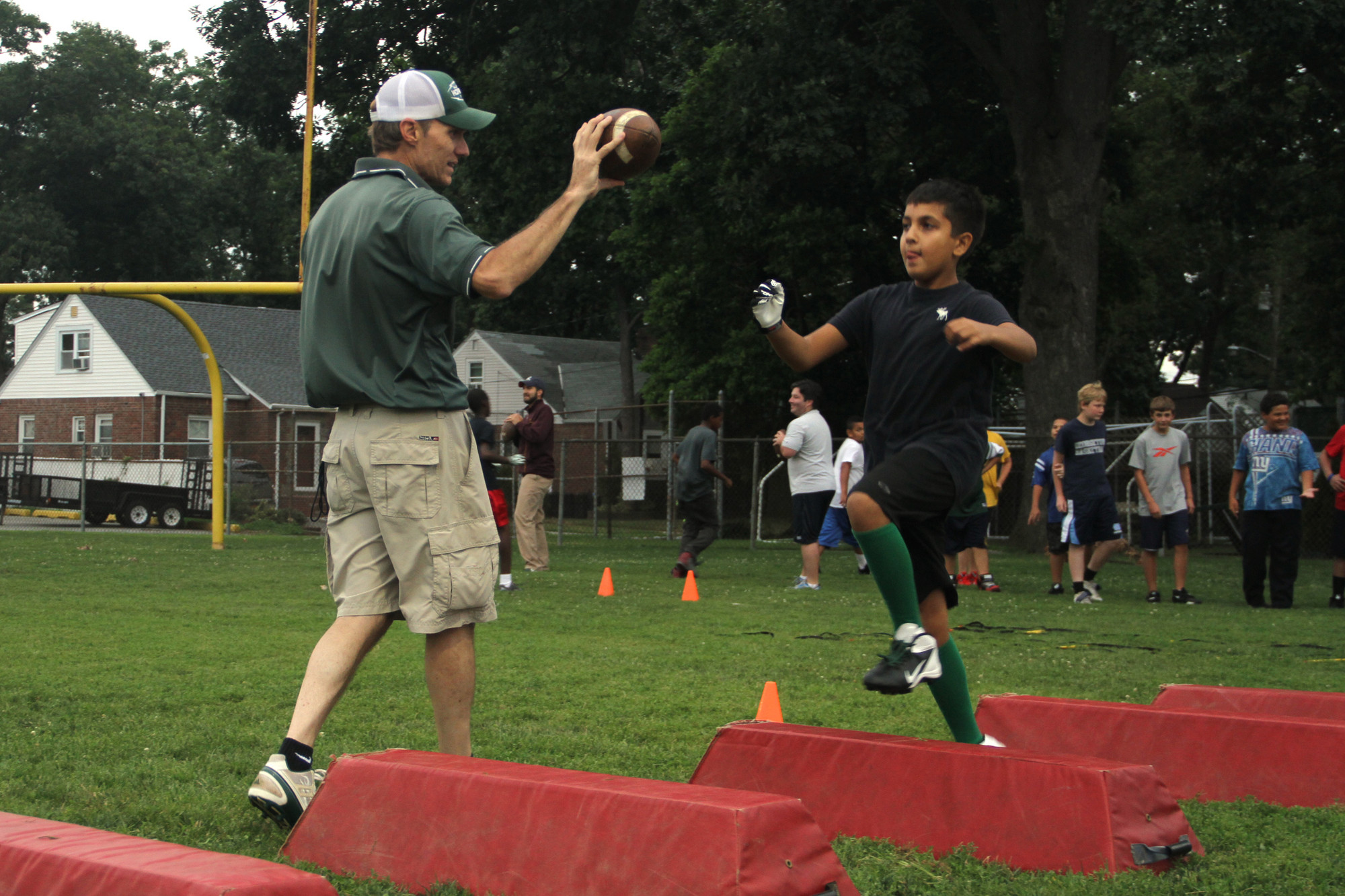 Coach Bobby Hawkey Jr., made sure eyes were up as players hit the obstacle course as they trained for the upcoming season.