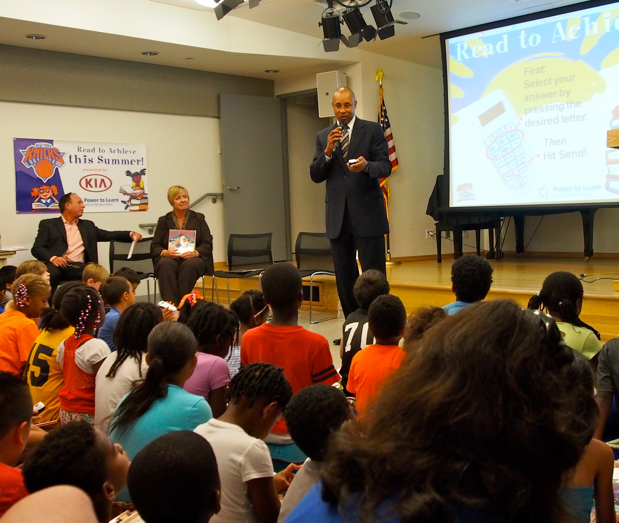 Former Knicks guard John Starks spoke about the importance of literacy during a visit to the Baldwin Public Library last week. Starks encouraged kids to read, especially in the summer, when school skills are prone to erode.