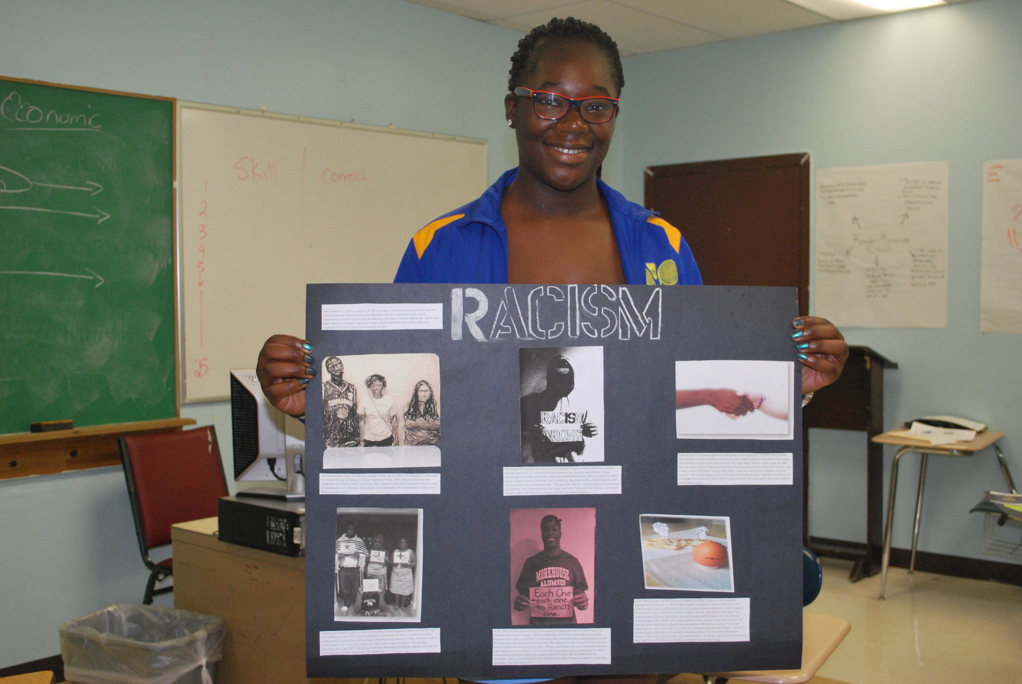 In Nathalie Nelson's Advanced Placement English prep class for 11th- and 12-graders, senior Sigourney Nelson (no relation) displayed her project on the perception of racism.