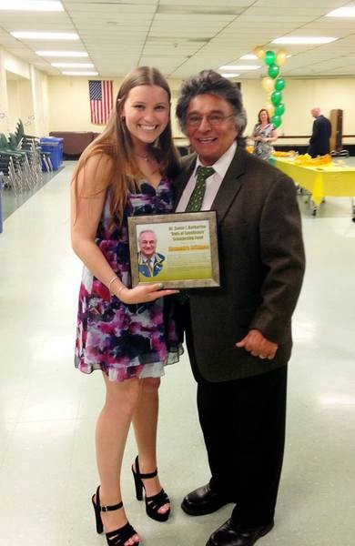 Alexandra brittman was one of three recipients of a scholarship named for Dr. Santo Barbarino. Santo�s brother, Al Barbarino presented her with the award.