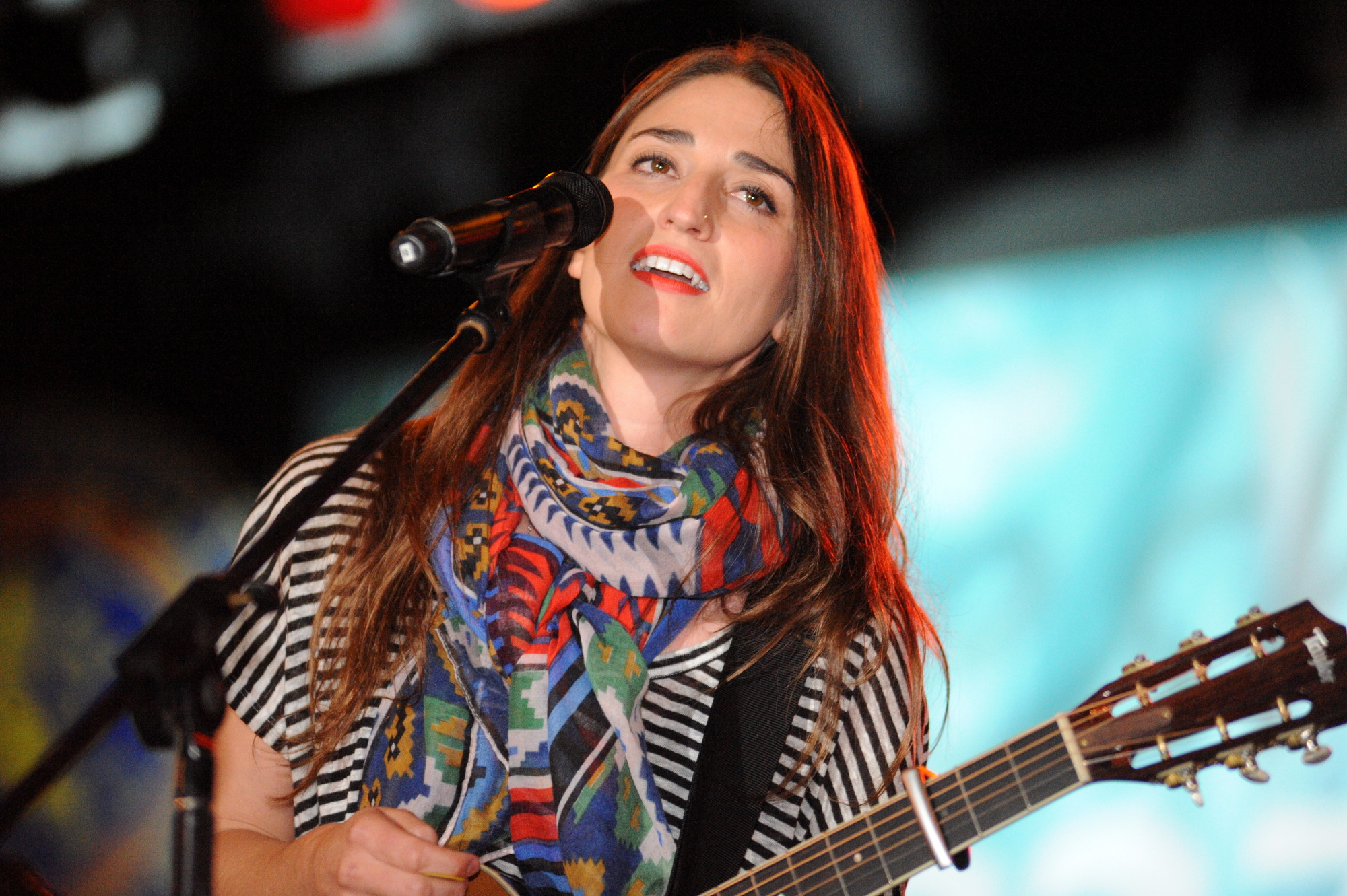 Singer-songwriter Sara Bareilles entertained a large crowd at dusk.