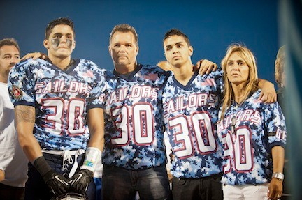 The Buckley family at an Oceanside High School football game last fall, dedicated to the slain Marine shortly after he was killed in Afghanistan.