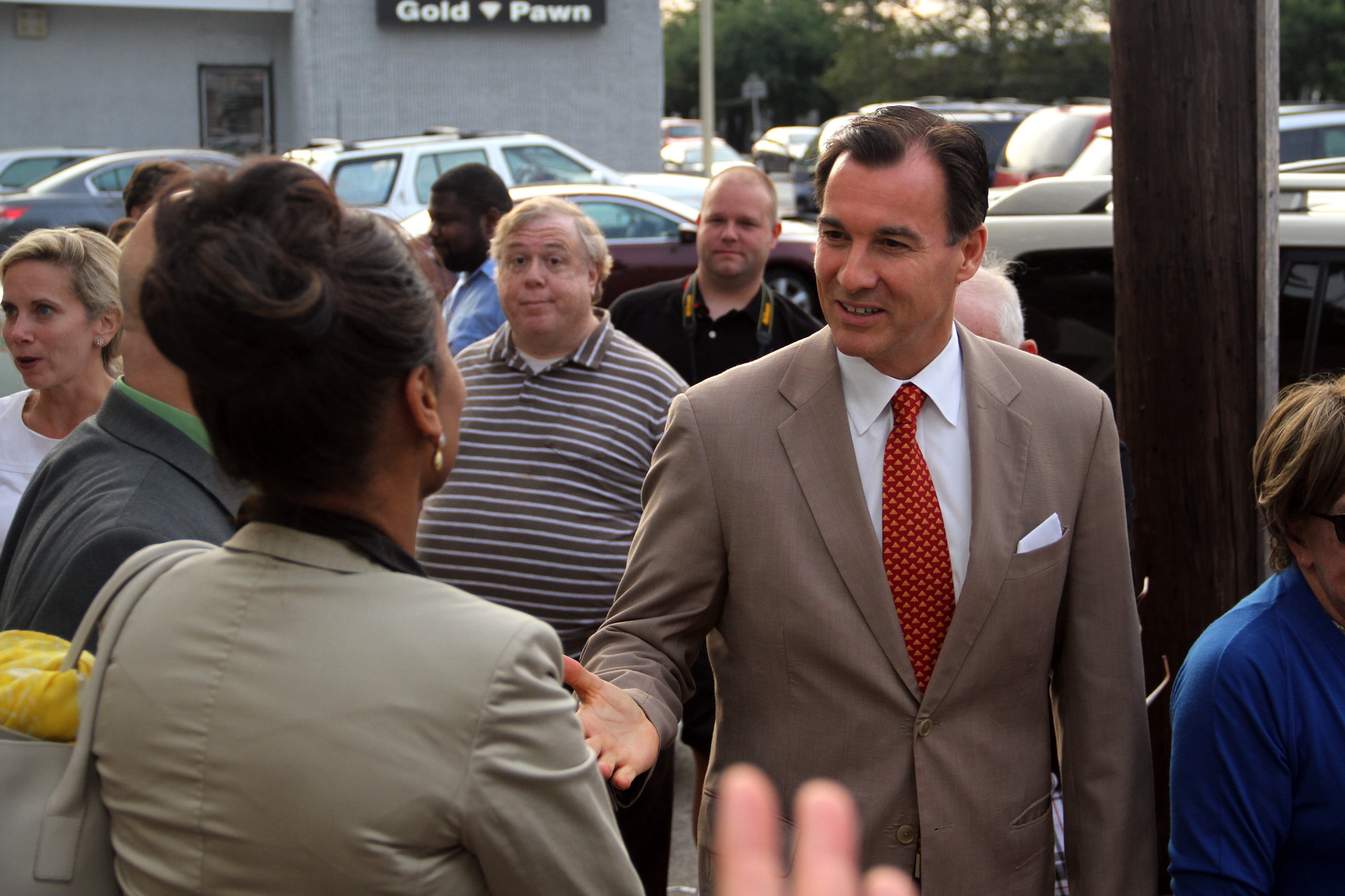 County Executive candidate Tom Suozzi greeted supporters at the opening of a campaign office in Valley Stream on July 31.