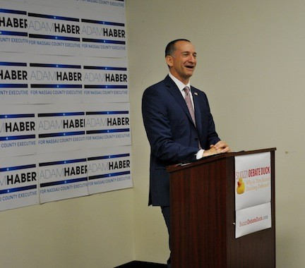 Adam Haber, at his Freeport headquarters on Aug. 1, called out fellow Democratic county executive candidate Tom Suozzi for not debating him.