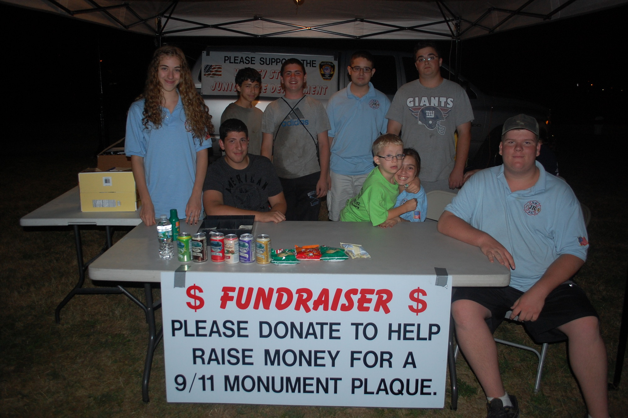 The Valley Stream Junior Fire Department is selling snacks and drinks at the summer concerts on the Village Green to raise money for a plaque for the Sept. 11 monument.