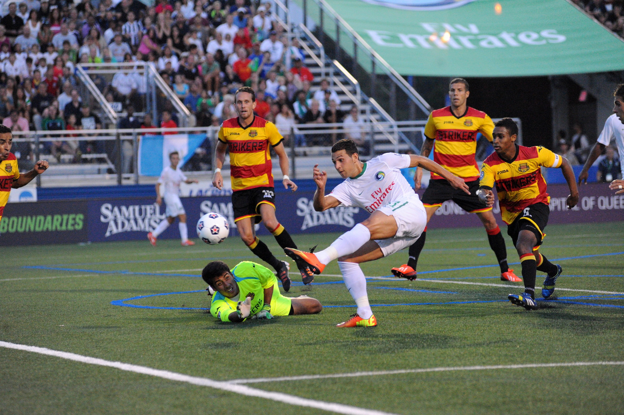 New York Cosmos forward Peri Maroševi scored the match's first goal in the 44th minute on the way to a 2-1 win over the Fort Lauderdale Strikers on Aug. 3.