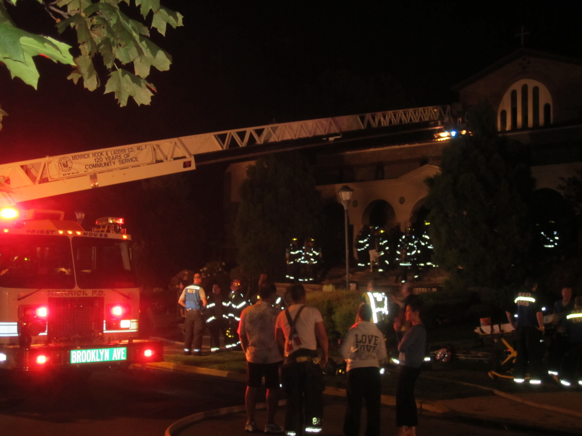 Merrick firefighters battled a fierce blaze at St. Demetrios Greek Orthodox Church on Hewlett Avenue on Friday.