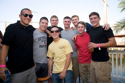 Former East Rockaway High SChool classmates, from left, Dylan Giliberti, Mikey Lores, Danny McClure, Joe Cantone (in sunglasses), Dave Blessington, Justin Jonas, John Tiki Parzych and Luke Fahrenkrug caught up at the fundraiser.