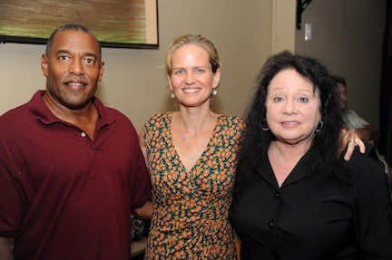 Laura Curran kicked off her campaign for the 5th L.D. seat last week. Curran, center, with Ken Williams and Janet Poretsky, president and vice president of the Baldwin Democratic Club, said she would focus on new ideas and fiscal responsibility if elected.