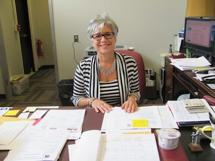 Dr. Rosmarie Bovino, the superintendent of the Island Park schools, in her new office last month.