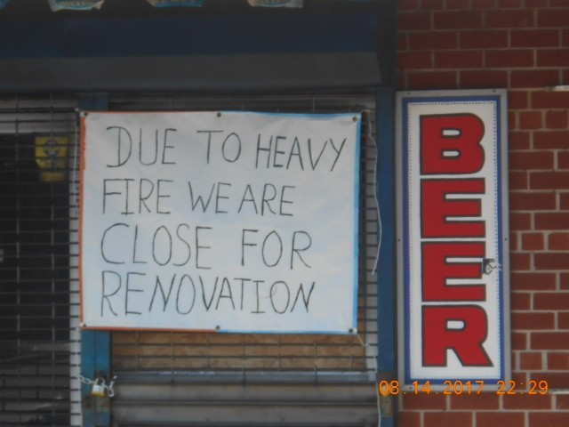A sign was placed outside Milk Farm Deli, in North Valley Stream, to announce an indefinite closing following extensive interior damage due to a fire on Aug. 14.