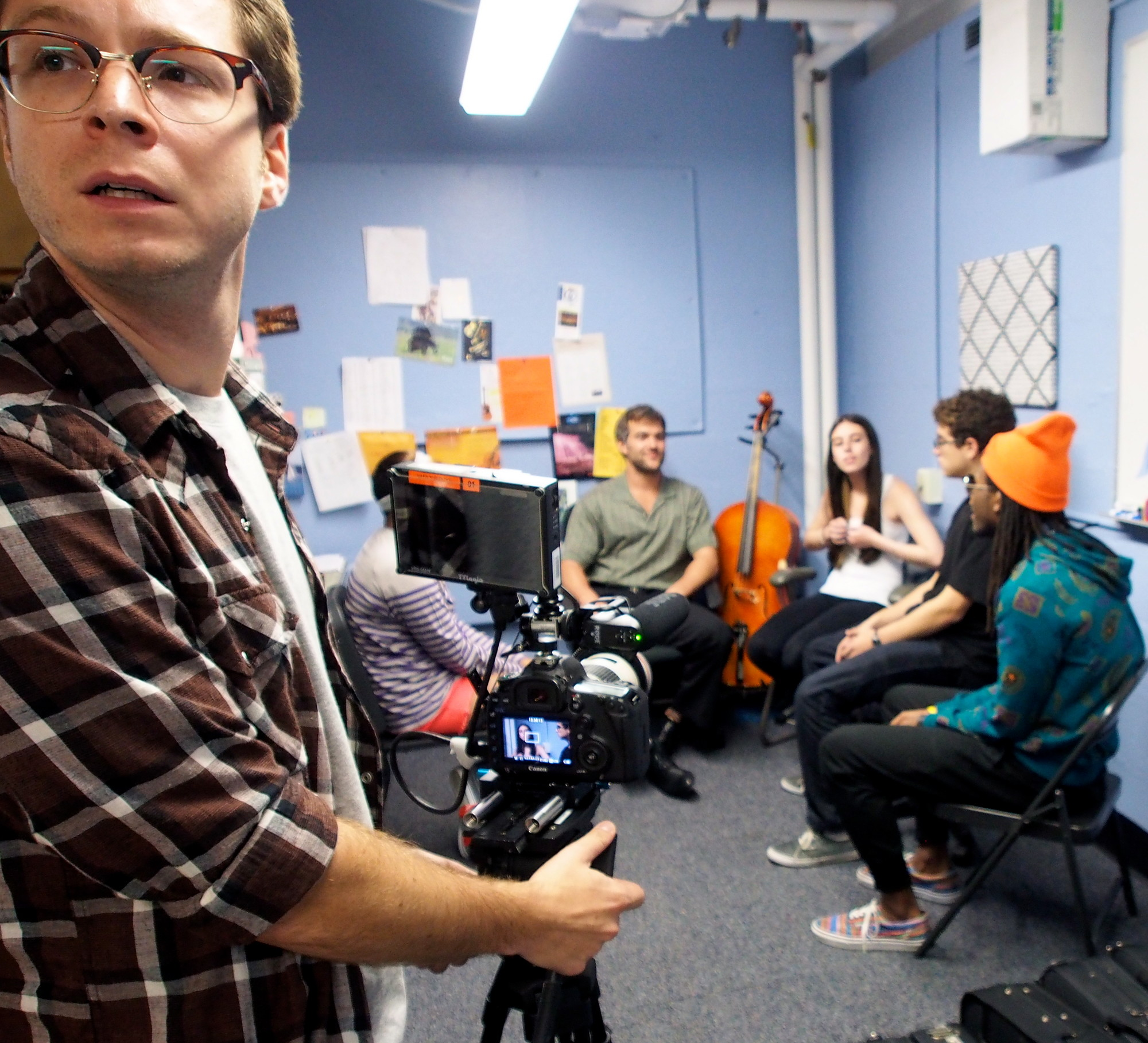 "Josh Kesner, second camera for ""Bad Teachers,"" shot a scene in the band teacher's office."