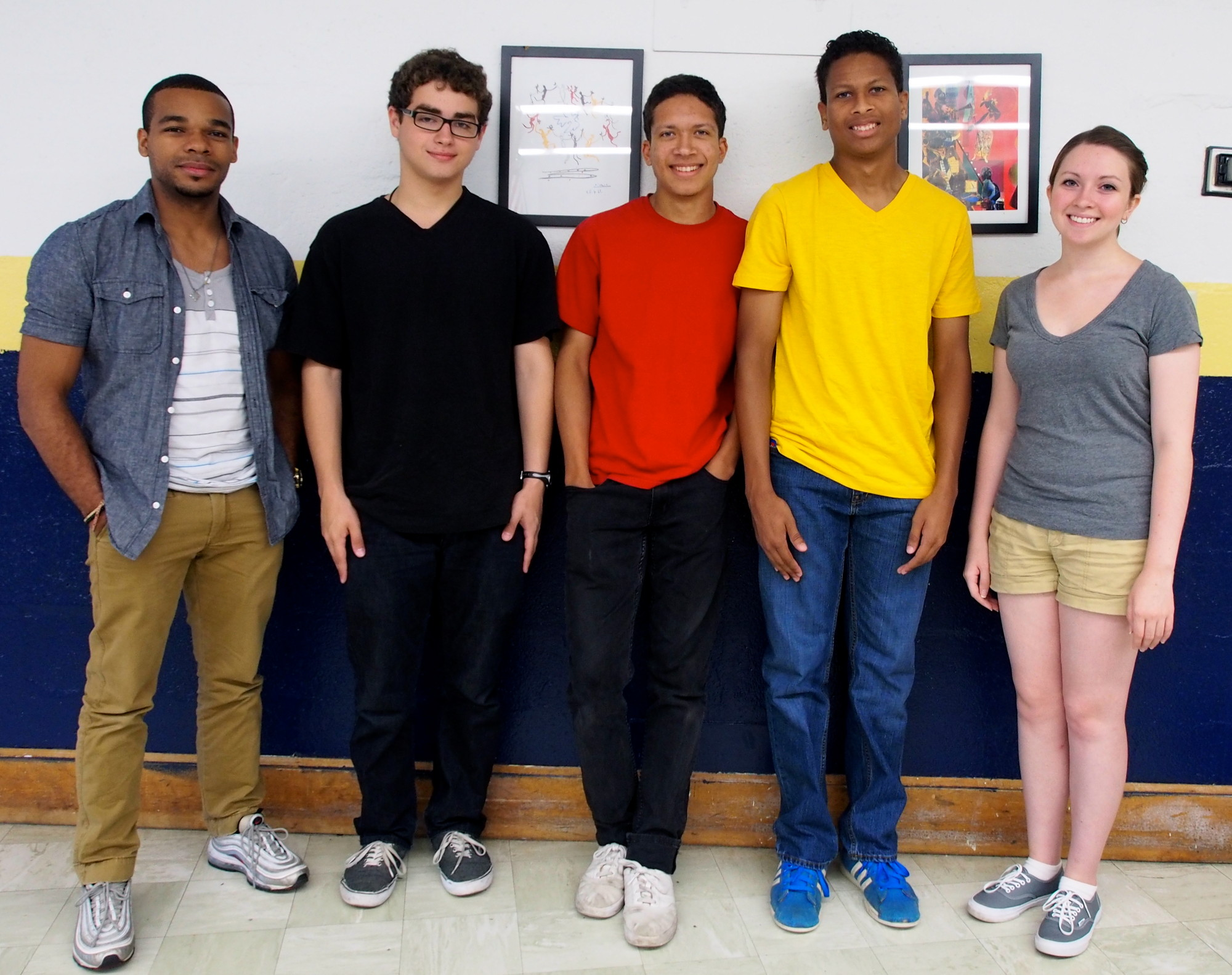 Paul Edme, left, Adam Hartman, Anthony Carrion, Reginald Carrion and Ally Callaghan worked as extras on a TV show that filmed at BHS last week. Natalia Barr, a current BHS student, interviewed her peers about their experiences.
