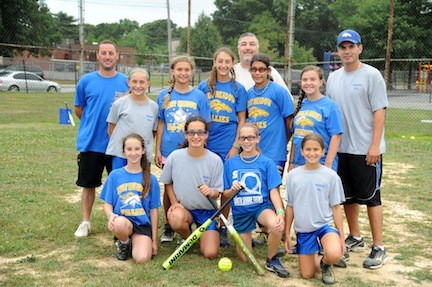 The East Meadow Fillies, fresh off their Long Island championship victory. At top, from left, are coaches John Duhs, Al Semonella and Joe Cuttone. In the middle row, from left, are teammates Arianna Duhs, Amy Mallah, Gianna Imperiale, Rosanna Cuttone, Rachel Ninesling, and at bottom, from left, Christina Semonella, Julia Cuttone, Alyssa Yablansky and Stephanie Botman. Not pictured are Maria Boyle, McKayla Entenmann, Nicole Morreale and coach Rick Yablansky.