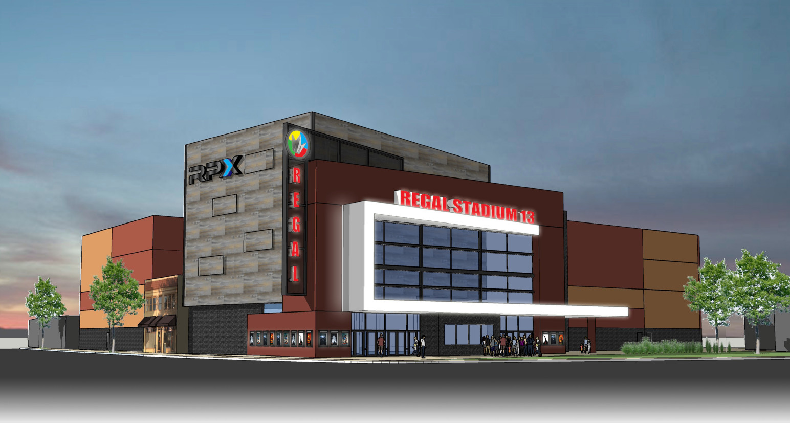 Rendering of proposed movie theater to replace UA Lynbrook 6 on Merrick Road