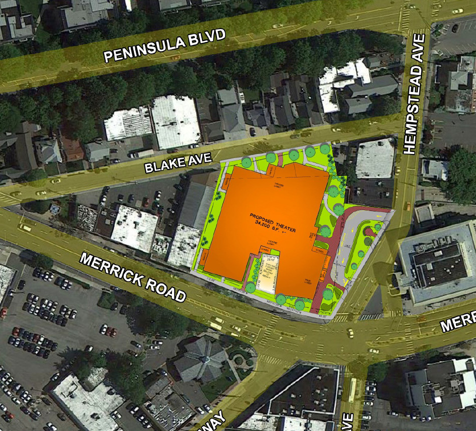 The site plan for a newly designed theater includes a drop-off point (outlined in red) on Hempstead Avenue near the pocket park adjacent to the building.