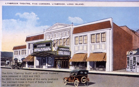 A postcard depicting the Lynbrook theater in 1923.
