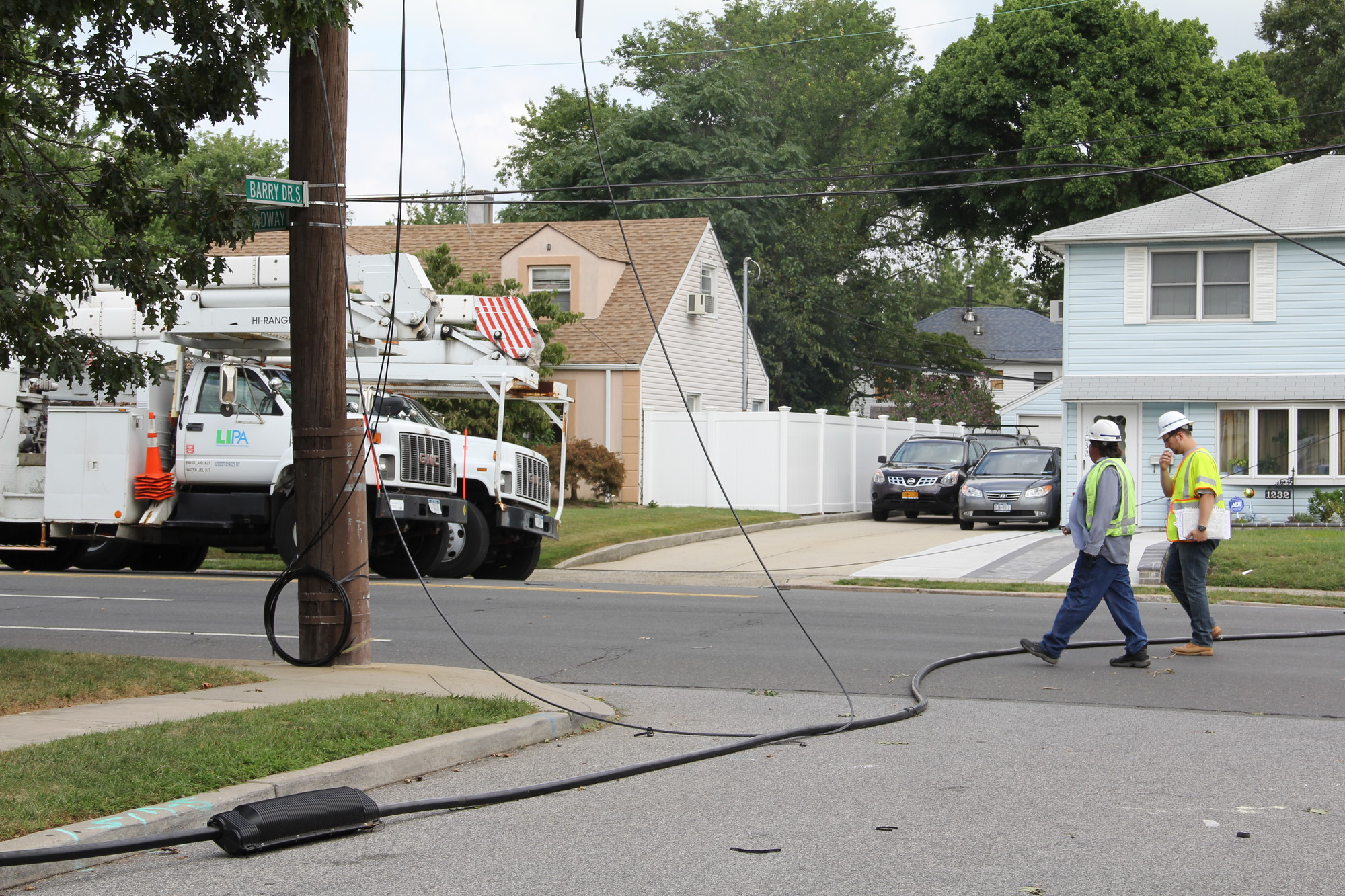 Wires were ripped down throughout southern Elmont and North Valley Stream, including at the corner of Dutch Broadway and Barry Drive.