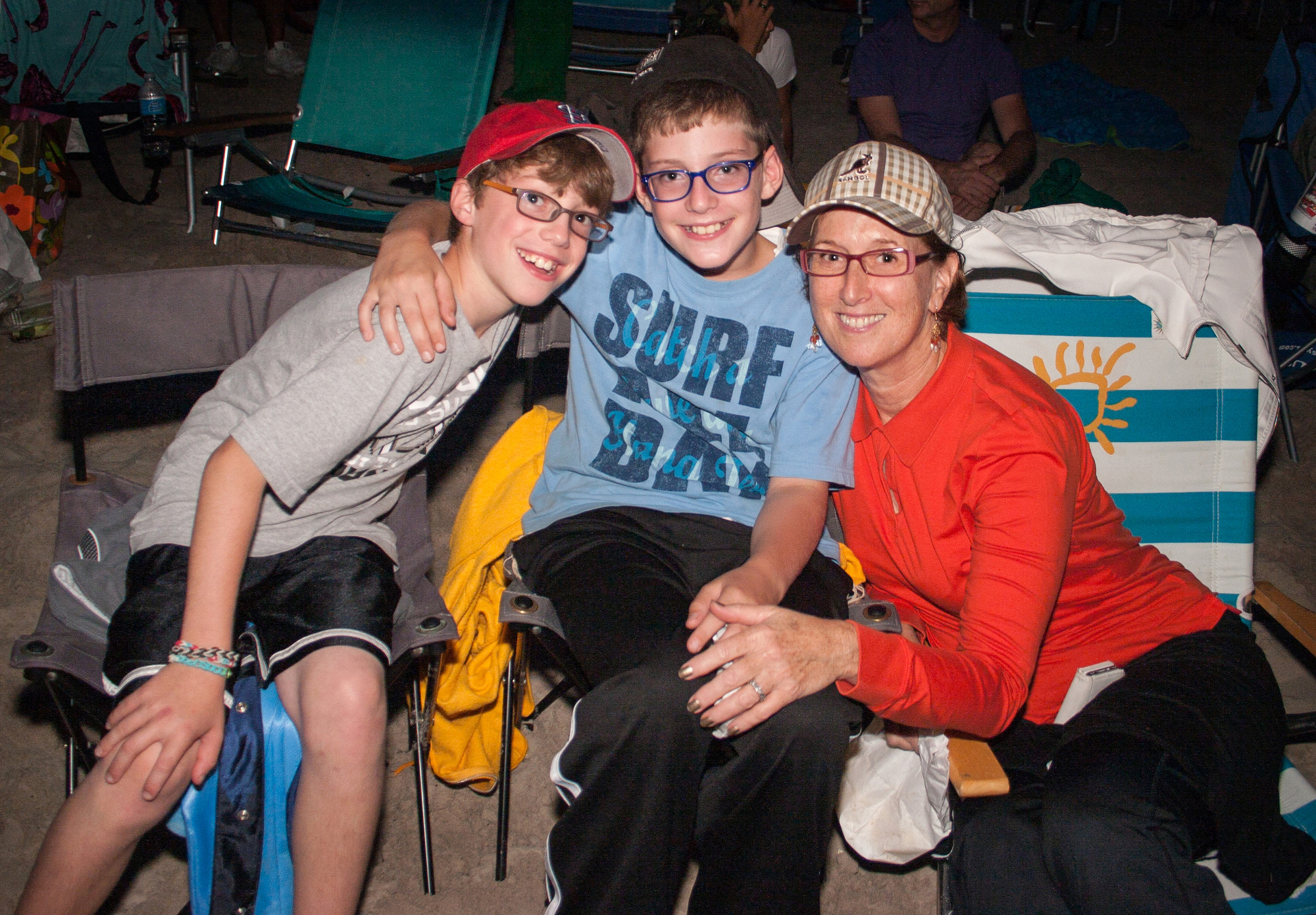 Twins Eitan and Ezar Libin, 11, and their grandmother, Sheryl Wyszkewski, turned out for the film festival's screenings on the beach.
