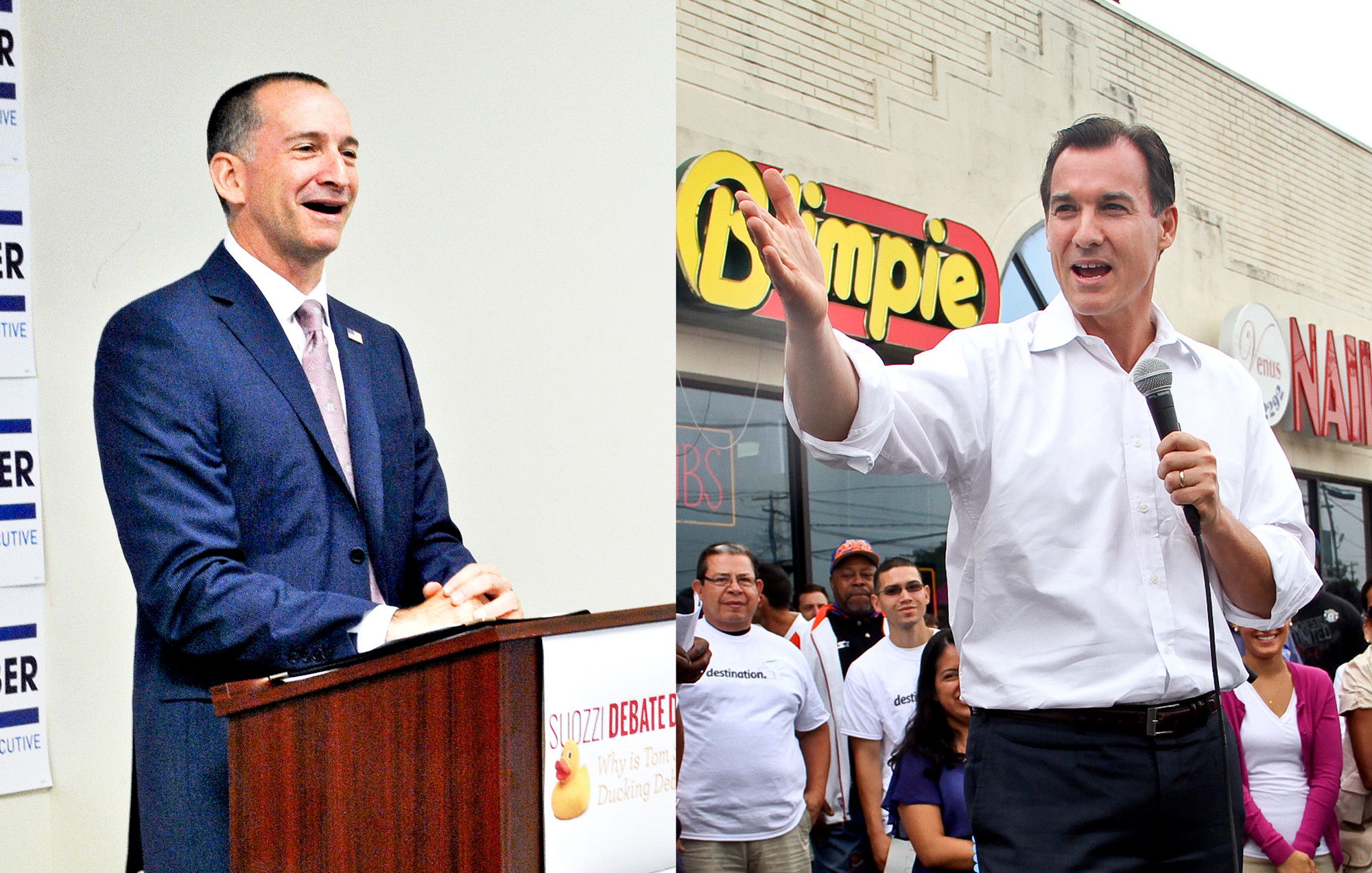 Adam Haber, left, and Tom Suozzi on the campaign trail.