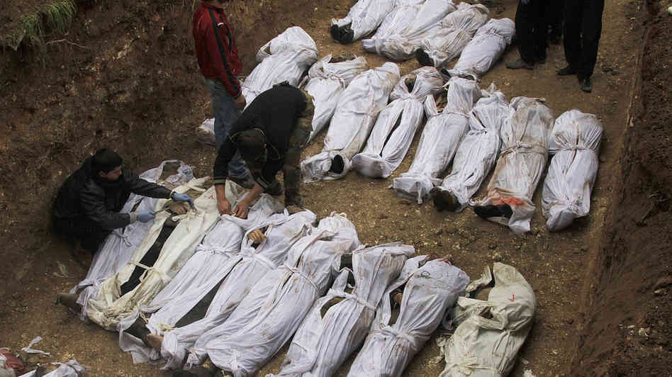 Bodies of victims from what is widely believed to be a poison gas attack carried out by the Syrian government.