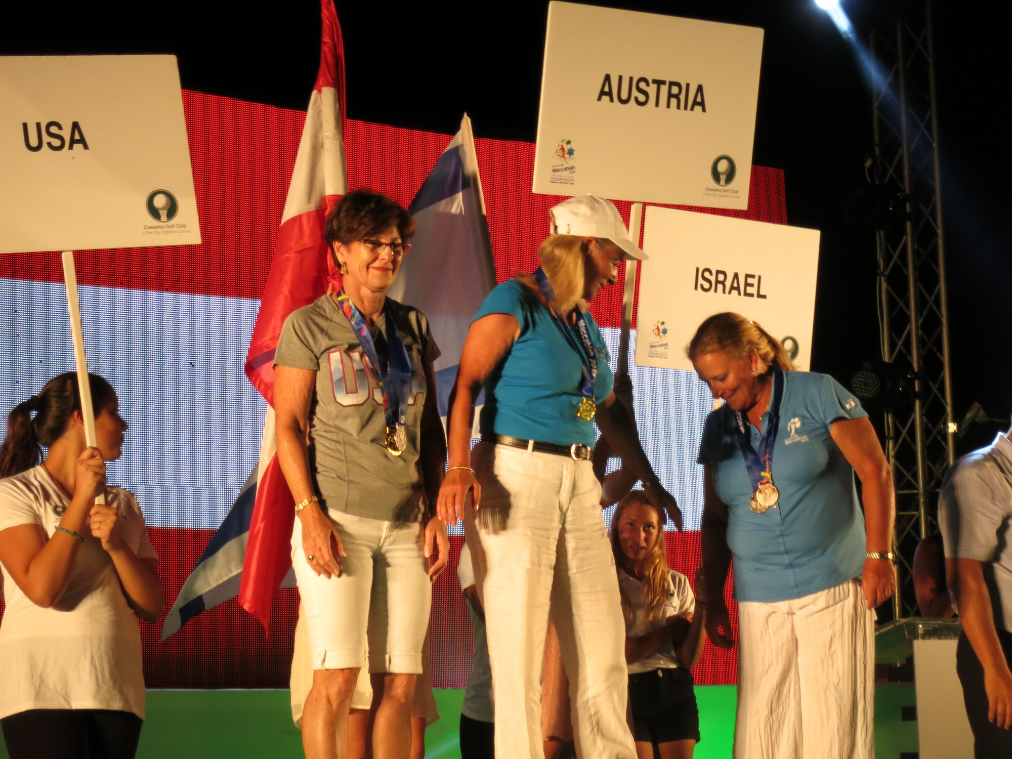Sharon Hoffman, second from left, won one gold medal for the Team USA Ladies Masters and an individual silver medal at this summer's 19th annual Maccabiah Games.