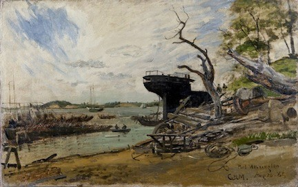Port Washington, L.I., by Charles Henry Miller. 1885, oil on canvas mounted to a board, measures 15 1/2 x 24 1/2 inches. From Charles Henry Miller, N.A. Painter of Long Island by Geoffrey K. Flemming and Ruth Ann Bramson.