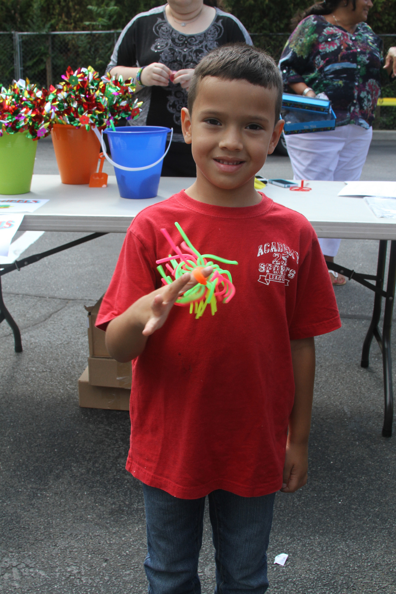 Joel Oliva, 5,showed off his rubber yo-yo he got at the PPL party.