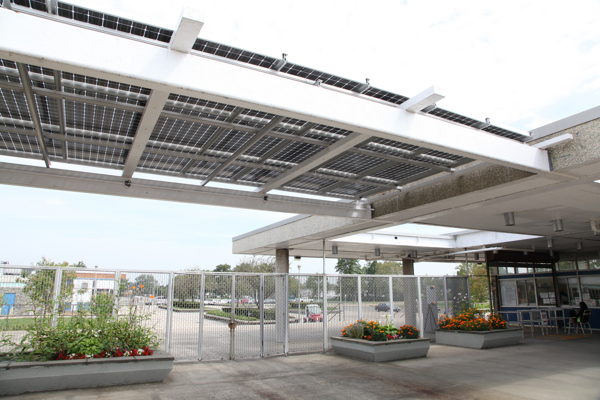 The solar installation at Newbridge Road Park pool in Bellmore.