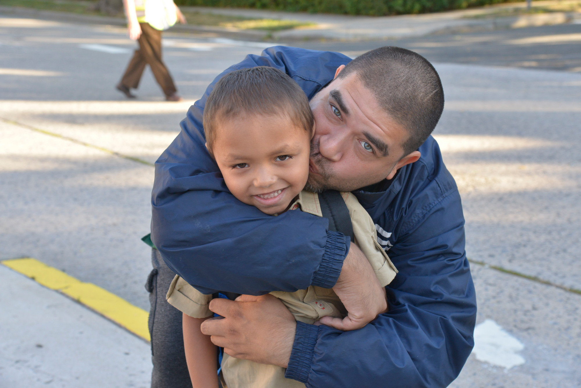 Miguel Cordero, 5, got a goodbye kiss from his father Raul before his first day at school.