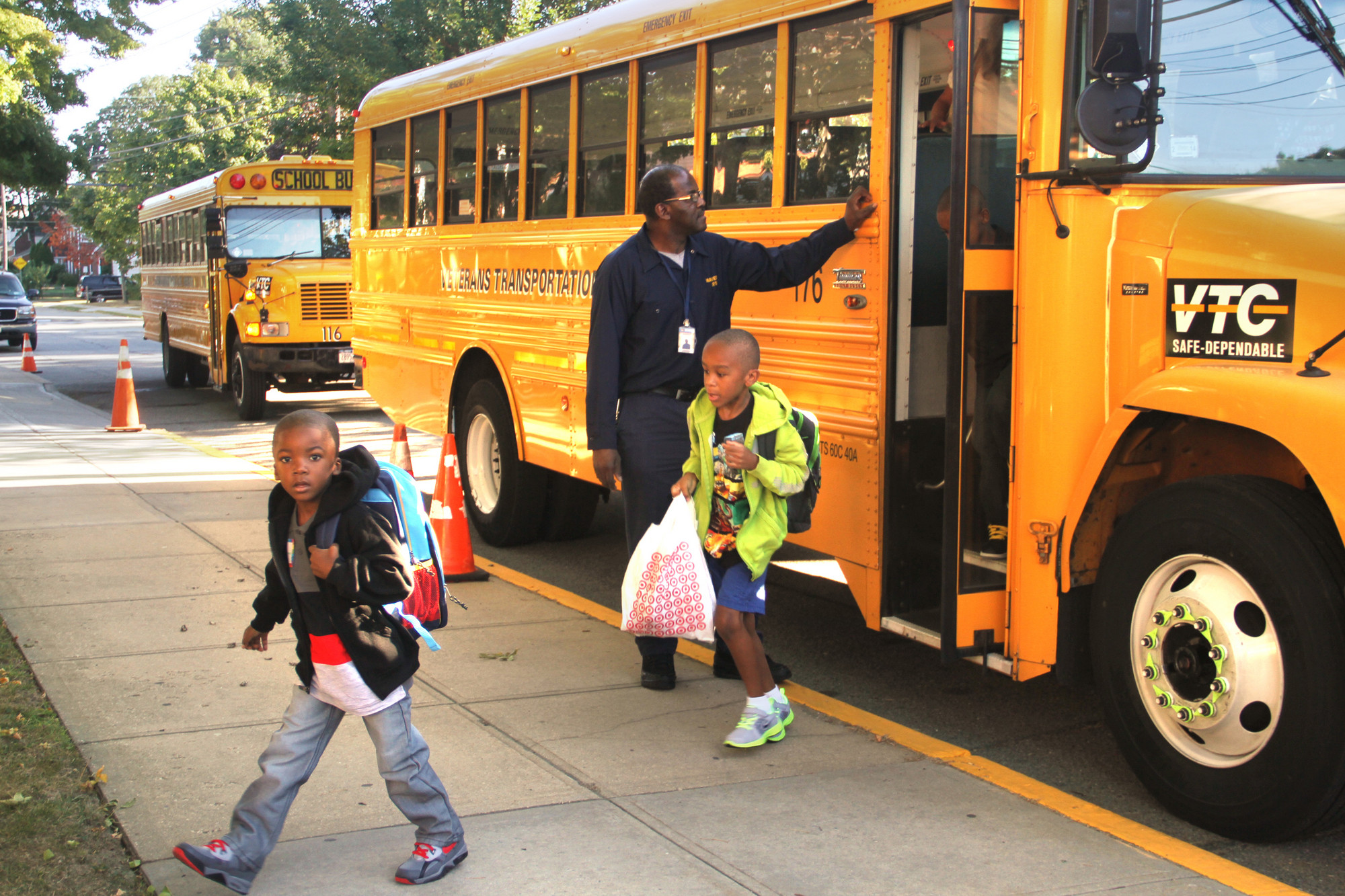 Maurice W. Downing students arrive on the first day of school.
